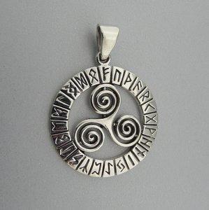 Zilveren Hanger Trikel in Runen Cirkel