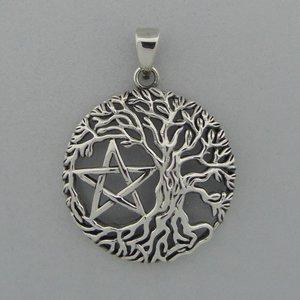 Zilveren Hanger Levensboom met Pentagram