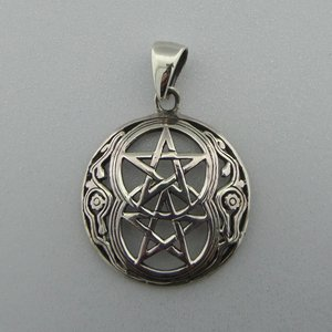 Zilveren Hanger Dubbele Pentagram