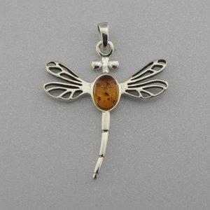 Zilveren Hanger Libelle met Barnsteen