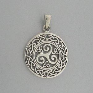 Zilveren Hanger Keltische Triskel met Triquetra