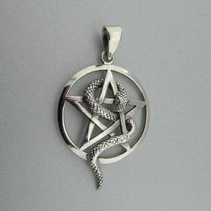 Zilveren Hanger Pentagram met Slang