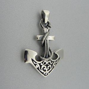Zilveren Hanger Kompas Anker bewerkt met Touw