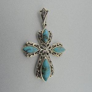Zilveren Hanger Kruis met Turquoise steentjes