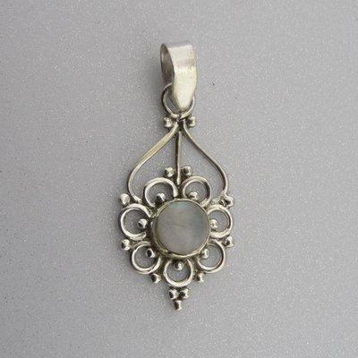 Zilveren Hanger Bloem met Maansteentje