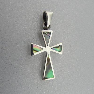 Zilveren Hanger Kruisje met Parelmoer