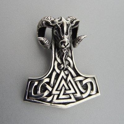 Zilveren Hanger Hamer van Thor met Bok