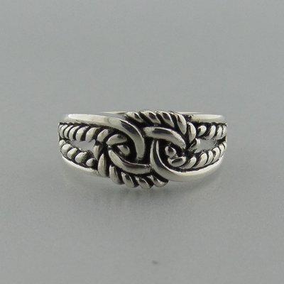 Zilveren Ring Platte Knoop