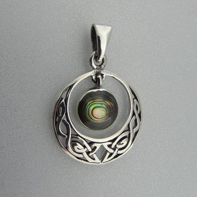 Zilveren Hanger Keltische Halve Maan met Parelmoer
