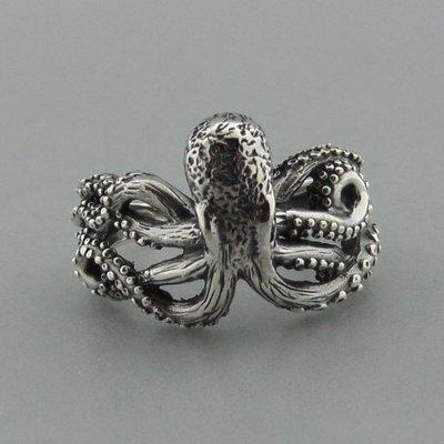 Zilveren Ring Octopus ( Inktvis )