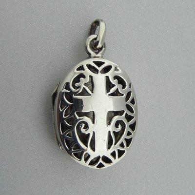 Zilveren Hanger Medallion Kruis bewerkt