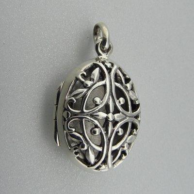 Zilveren Hanger Medallion Open bewerkt Ovaal