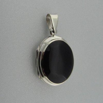 Zilveren Hanger Medallion Ovaal Onyx