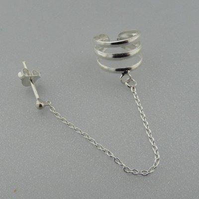 Zilveren Oorklemmetje Glad met Ketting en Stekertje