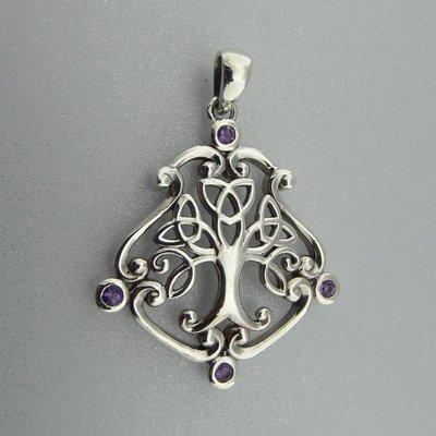 Zilveren Hanger Keltische Levensboom met kleine Amethist steentjes