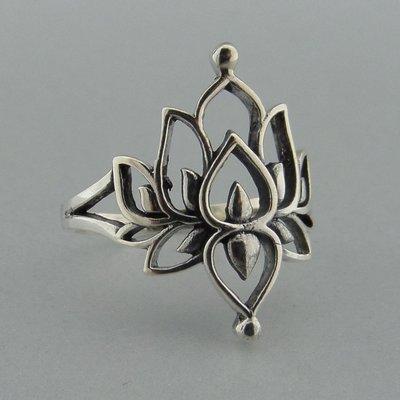 Zilveren Ring Lotus bloem
