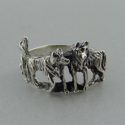 Zilveren Ring Drie Wolven
