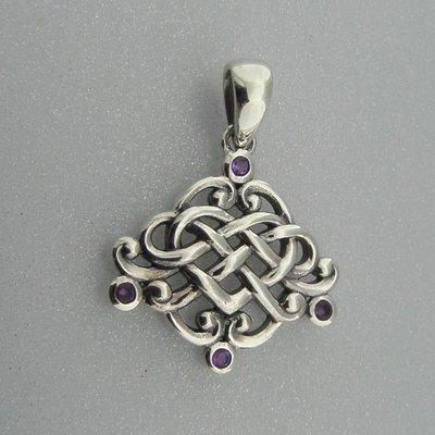 Zilveren Hanger Keltisch Hart met kleine Amethist steentjes
