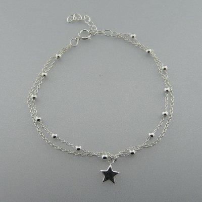 Zilveren Armband Bolletjes met Sterretje