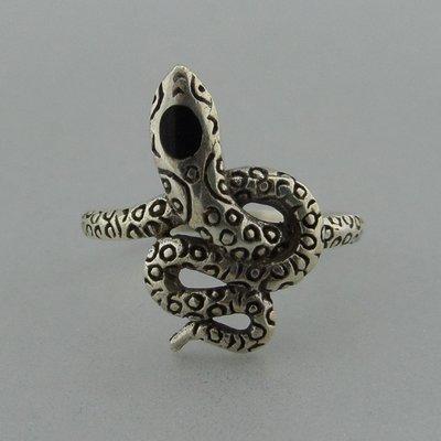 Zilveren Ring Slang met Onyx