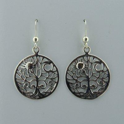 Zilveren Oorbel Levensboom met Zon en Maan