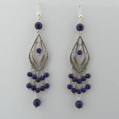 Zilveren Oorbel Filigrain Lapis Lazuli
