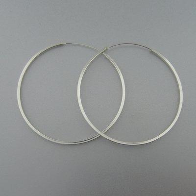 Zilveren Creolen  65 mm x 2 mm