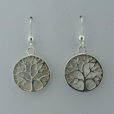 Zilveren Oorbel Levensboom op Parelmoer wit
