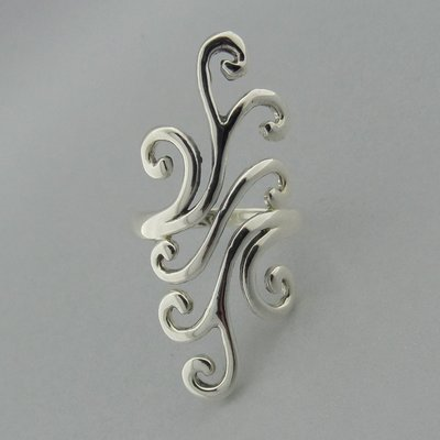 Zilveren Ring Sierlijk Langwerpig Glad