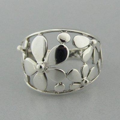 Zilveren Ring Bloemetjes