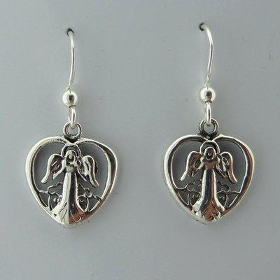 Zilveren Oorbel Engel in Hart