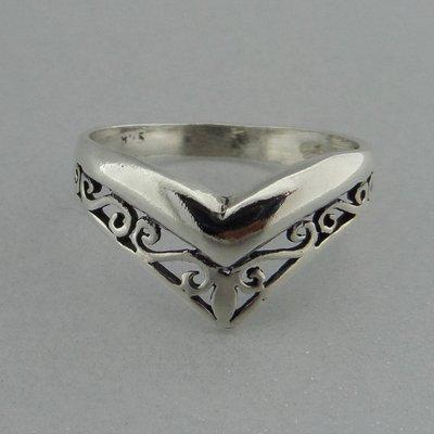 Zilveren Ring Half Open Bewerkt