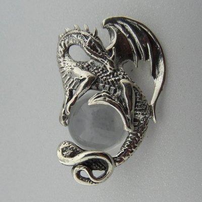 Zilveren Hanger Draak met Bergkristal