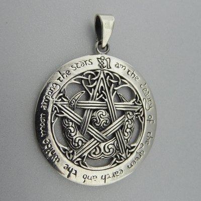 Zilveren Hanger Pentagram Halve Maan Keltische Triskel Triquetra