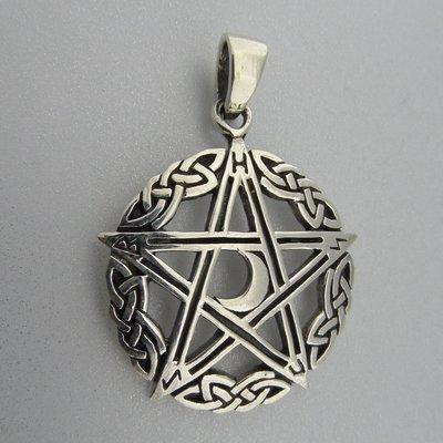 Zilveren Hanger Pentagram Halve Maan in Keltische Cirkel