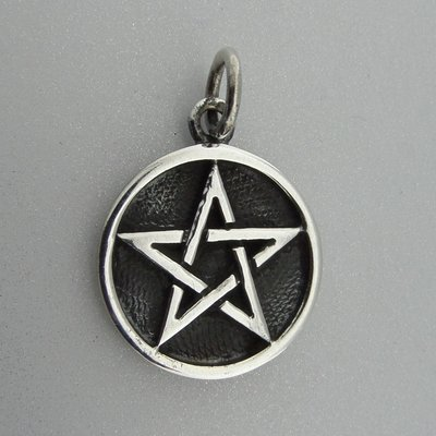 Zilveren Hanger Pentagram Geoxideerd