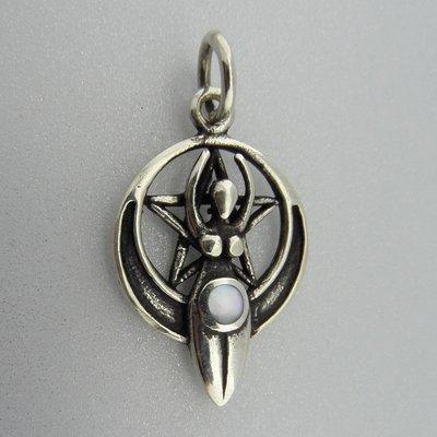 Zilveren Hanger Gaia in pentagram en Parelmoer met  Halve Maan