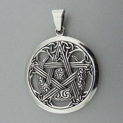 Zilveren Hanger Maan in Keltische Pentagram