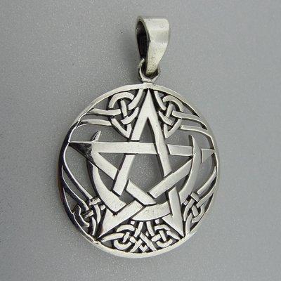 Zilveren Hanger Halve Maan in Keltische Pentagram