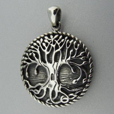 Zilveren Hanger Levensboom Geoxideerd