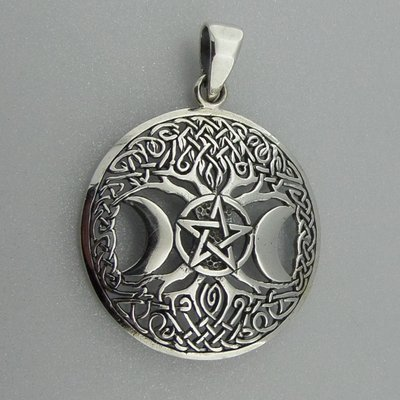 Zilveren Hanger Levensboom Pentagram met Twee Halve Manen