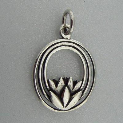 Zilveren Hanger Lotus in 3 ovale cirkels