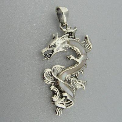 Zilveren Hanger Draak met Parelmoer wit