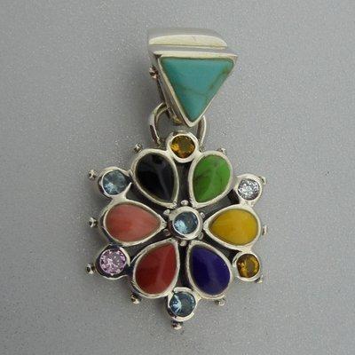 Zilveren Hanger Bloem Gekleurd Emaille met zikonia steentjes