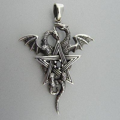 Zilveren Hanger Draken in Pentagram met Granaat steentje