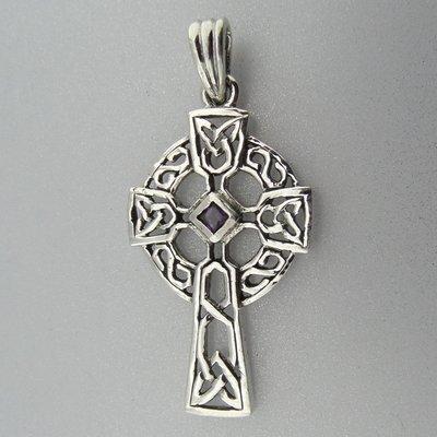 Zilveren Hanger Keltisch Kruis met Zirkonia paars