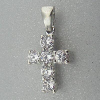 Zilveren Hanger  Kruis met Zirkonia