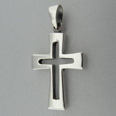 Zilveren Hanger  Kruis Open