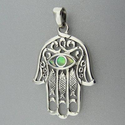 Zilveren Hanger Handje van Fatima met Parelmoer Oog