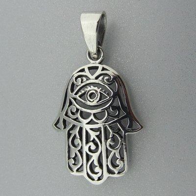 Zilveren Hanger Handje van Fatima met Oog
